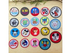 circle kinderganden sign words name head badges patches