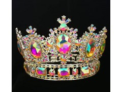 3.9 '' Full AB Stone Round Rhinestone Stone Hair Tiara Crown For Queen