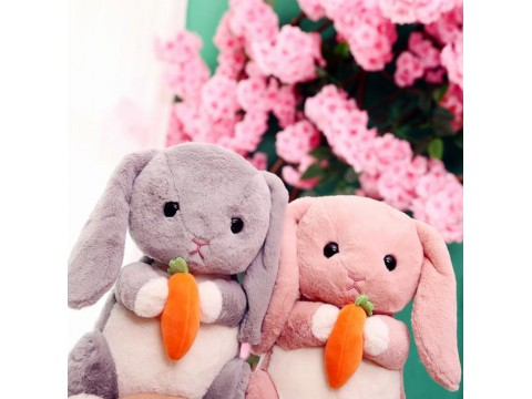 HOLDING RADISH RABBIT STUFFED ANIMAL